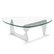 Журнальный дизайнерский стол Ногучи,  деревянный,  цвет белый,  стекло