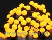 Гирлянда светодиодная нить ШАРИКИ 10 м,  черный кабель(120 Led), желтый