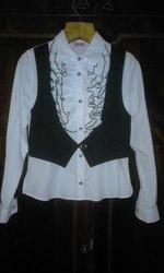 Біла блузка для дівчинки 11-12-13 років з жилеткою і жабо